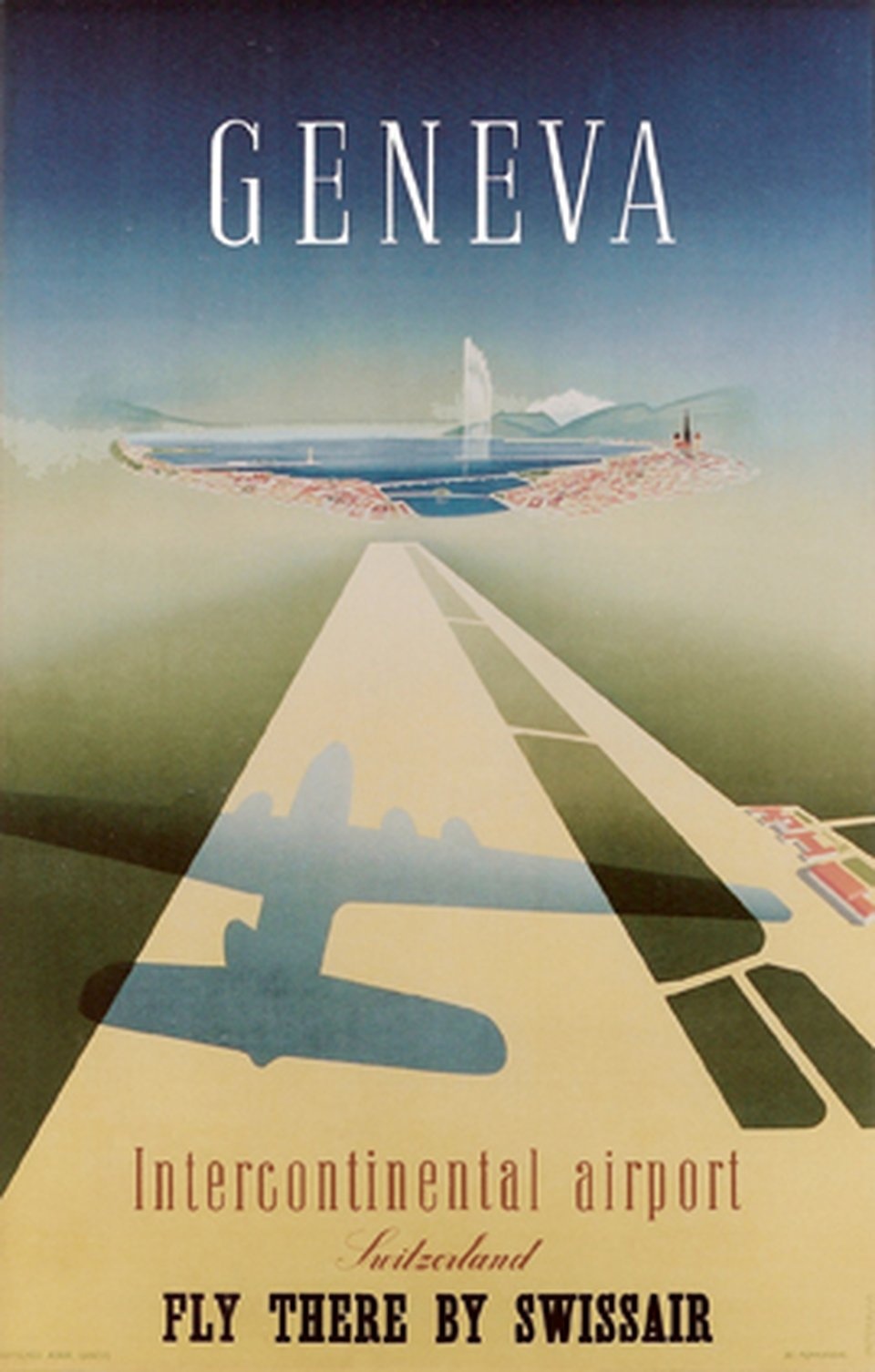 Geneva International Airport, Fly there by Swissair – Affiche ancienne – Walther MAHRER – 1948