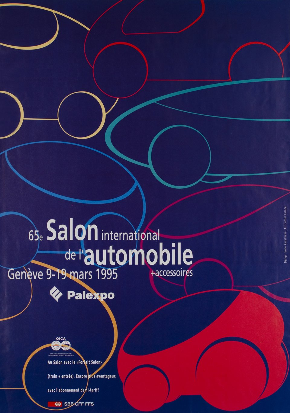 Genève, 65e Salon International de l'Automobile, Mars 1995 – Vintage poster – Irène KUGELMAN – 1995