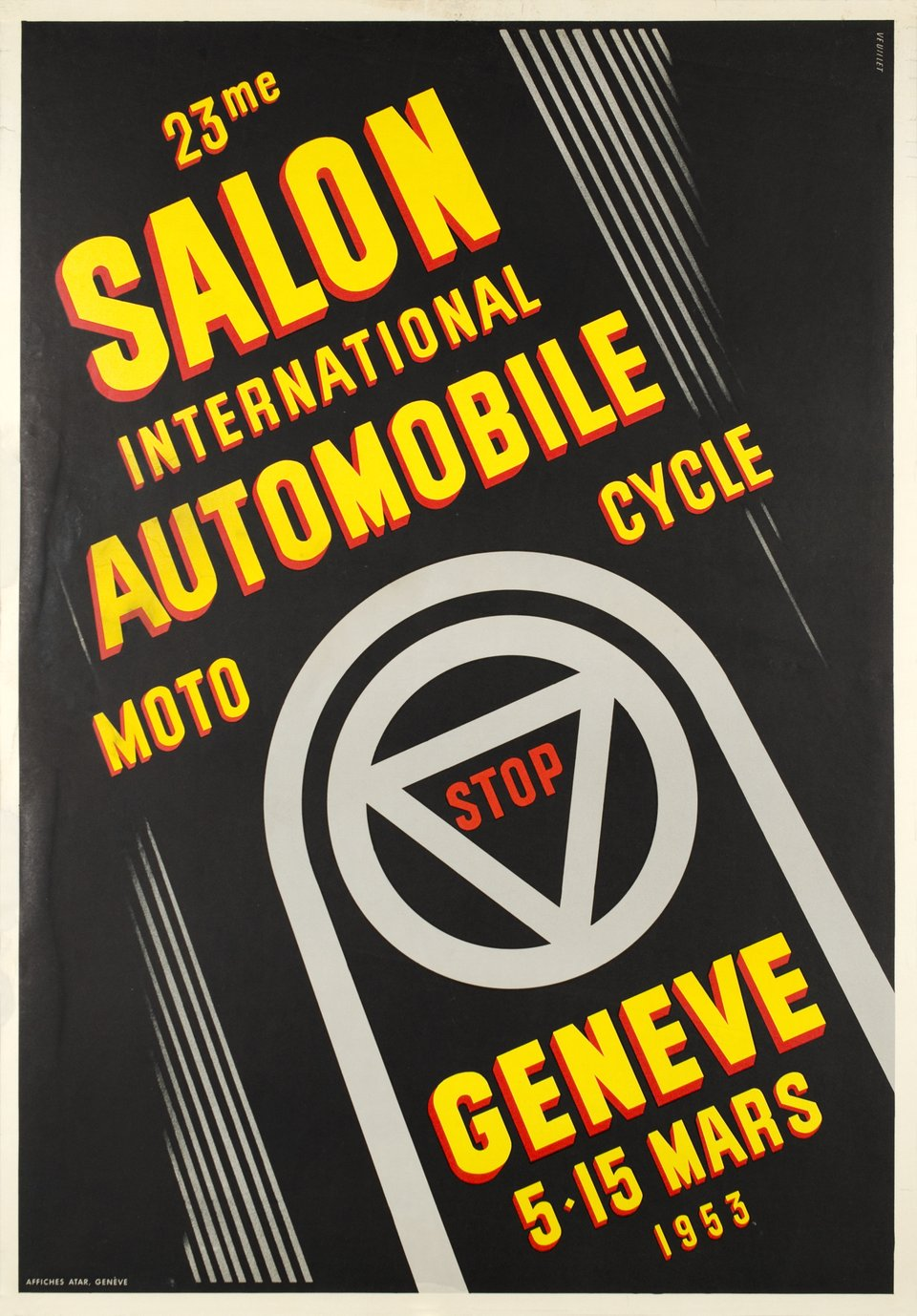 Genève Mars 1953, 23ème Salon International Automobile Moto Cycle – Vintage poster – Antoine VEUILLET – 1953