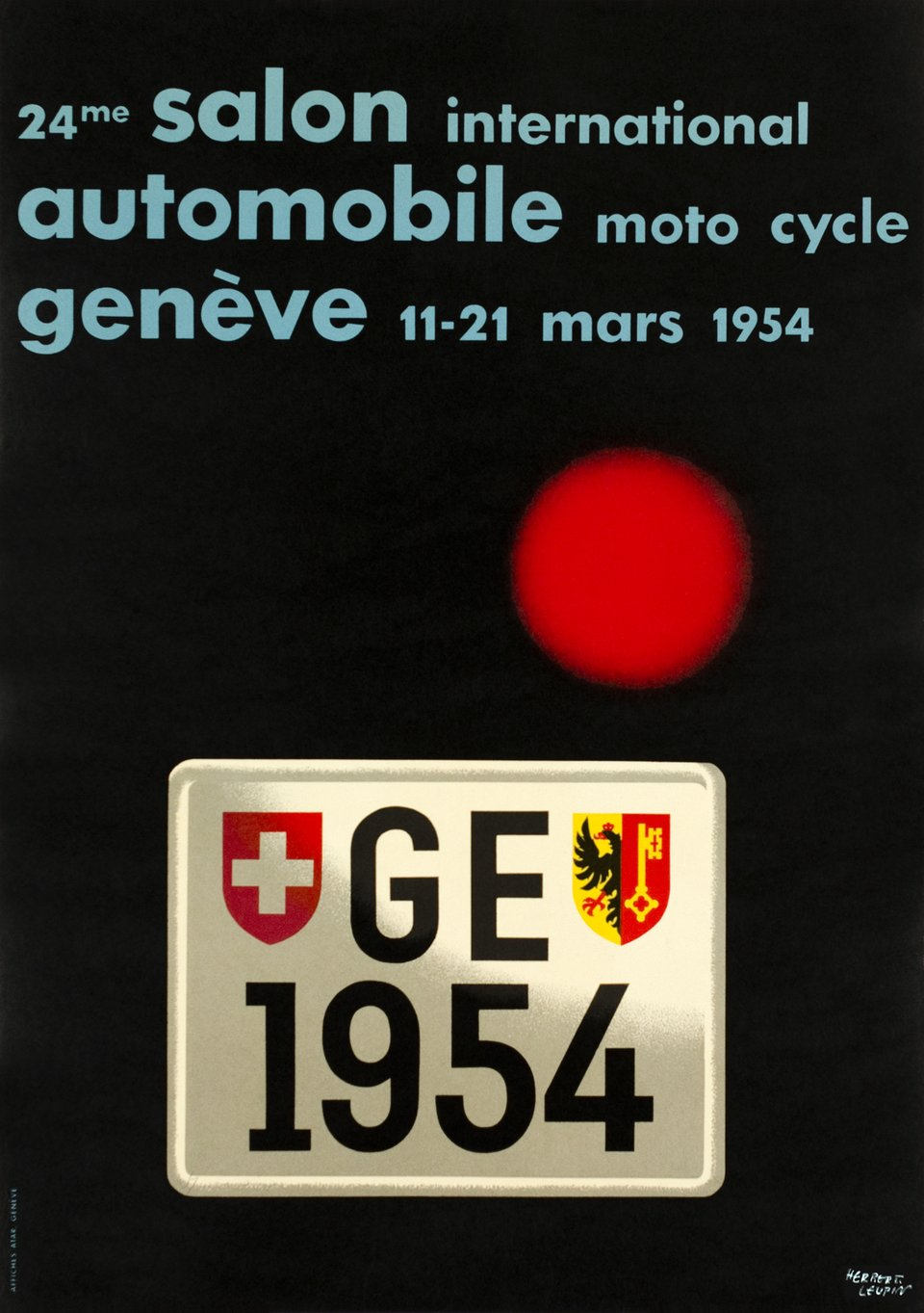 Genève Mars 1954, 24e Salon International Automobile Moto Cycle – Vintage poster – Herbert LEUPIN – 1954