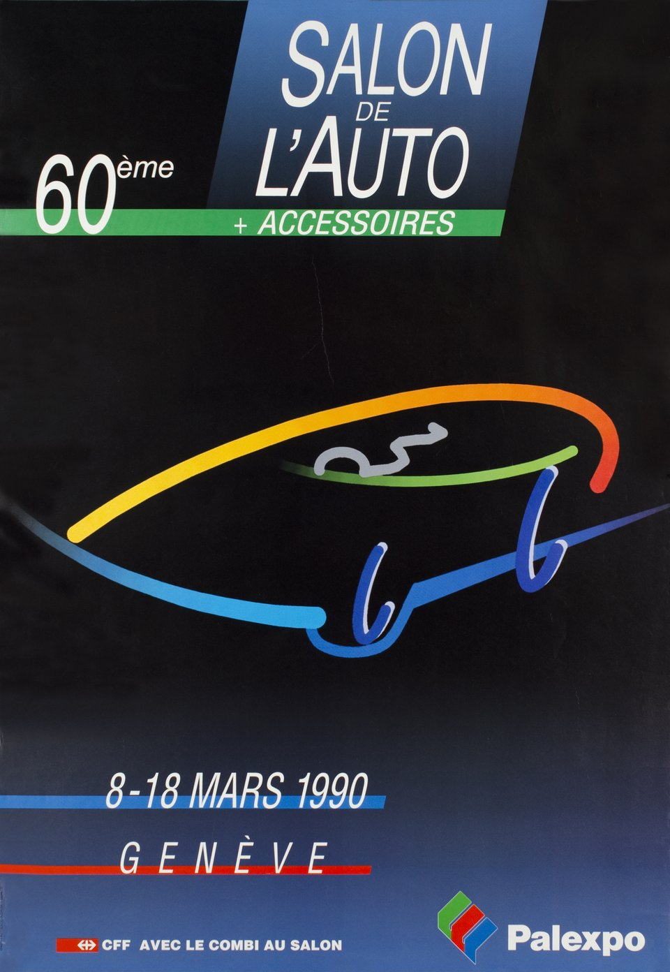 Genève, Salon International de l'Auto 1990 – Vintage poster – AUTHENTICOLOR CREATION – 1990
