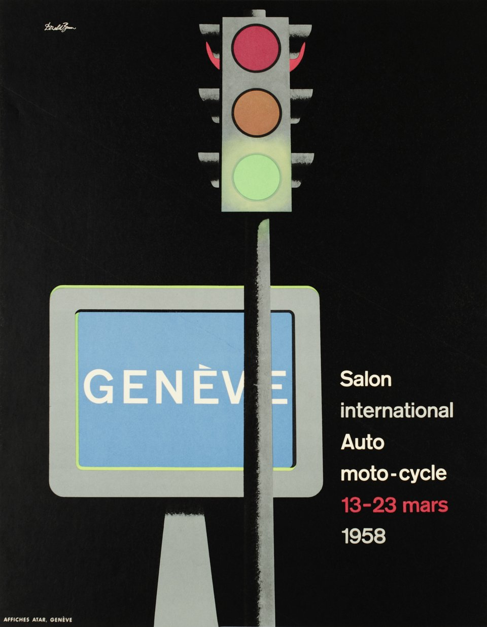 Genève, Salon International de l'Automobile, 1958 – Affiche ancienne – Donald BRUN – 1958