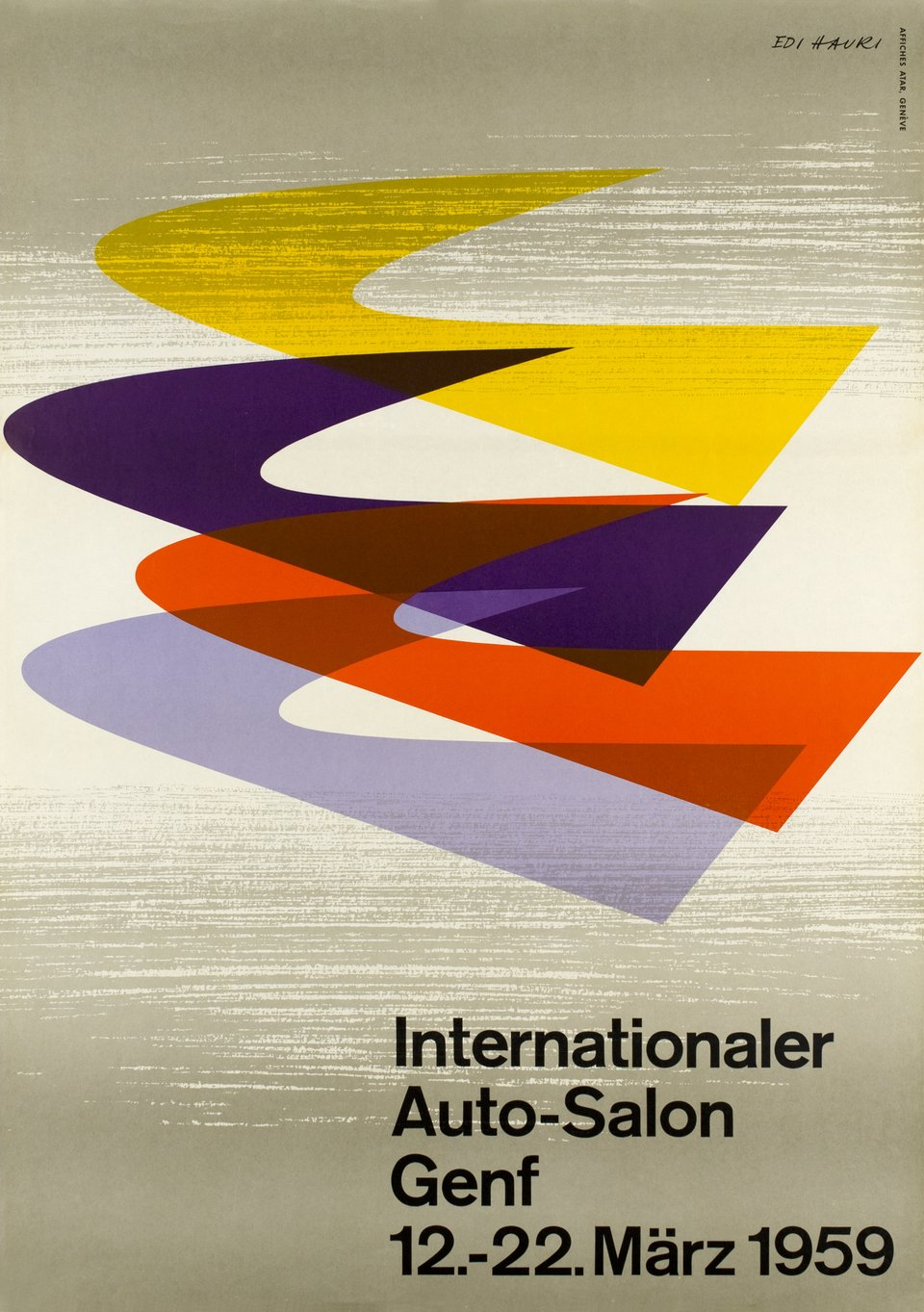 Genf, Internationaler Auto-Salon 1959 – Affiche ancienne – Edi HAURI – 1959
