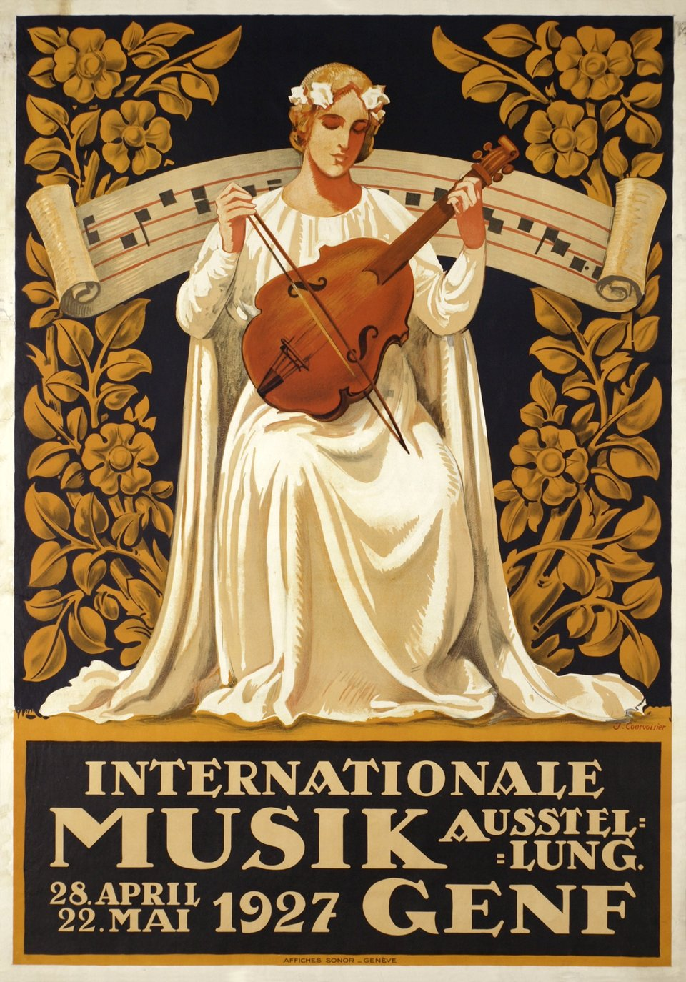 Internationale Musik Ausstellung 1927 Genf – Affiche ancienne – Jules COURVOISIER – 1927