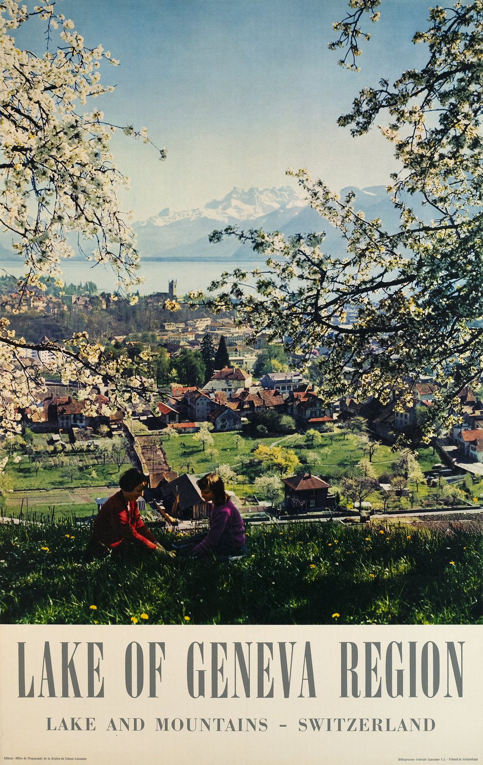 Lake of Geneva Region, Vevey – Affiche ancienne – ANONYME – 1965