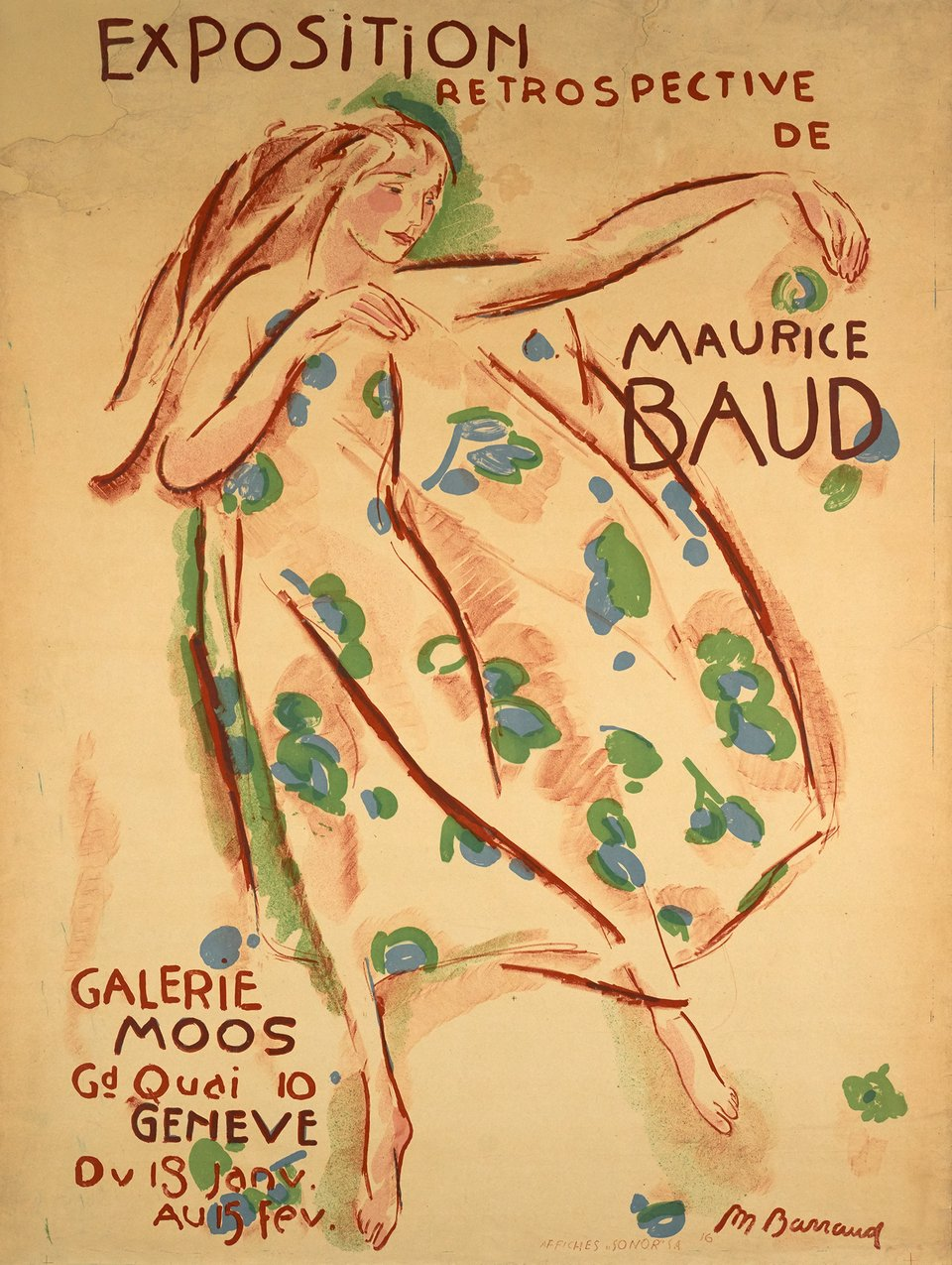 Maurice Baud, Galerie Moos – Affiche ancienne – Maurice BARRAUD – 1916