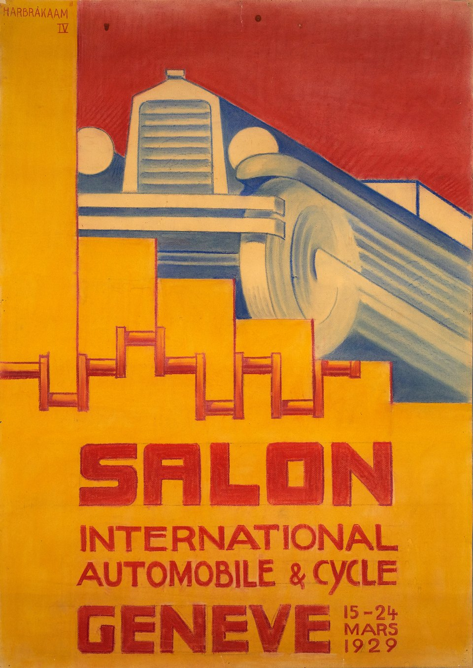 Salon International Automobile et Cycle Genève – Affiche ancienne – HARBRAKAAM – 1929