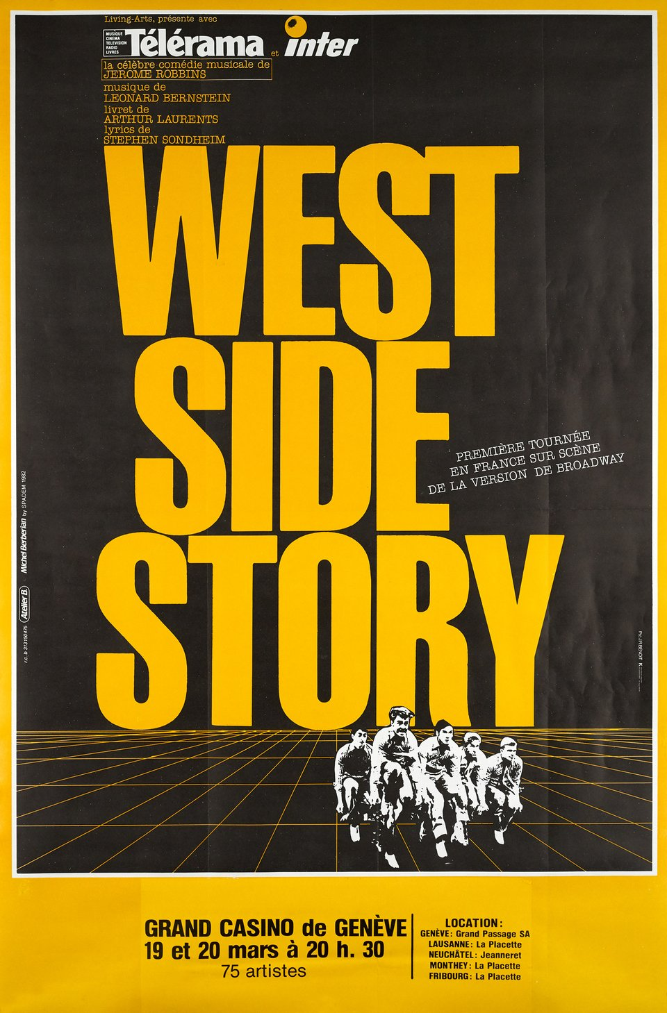 West Side Story, Grand Casino de Genève – Affiche ancienne – J.R BENOIT – 1982