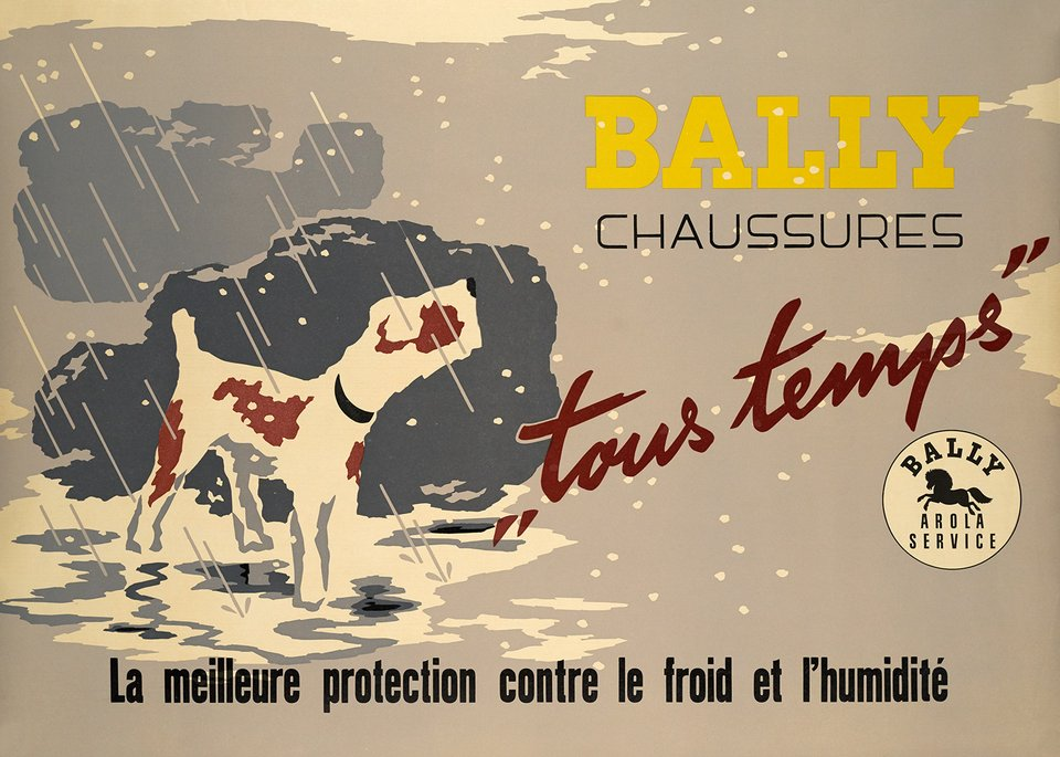 Bally Chaussures, tous temps – Affiche ancienne –  ANONYME – 1950