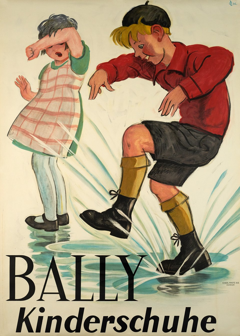 Bally, Kinderschuhe – Affiche ancienne – Hugo LAUBI – 1926