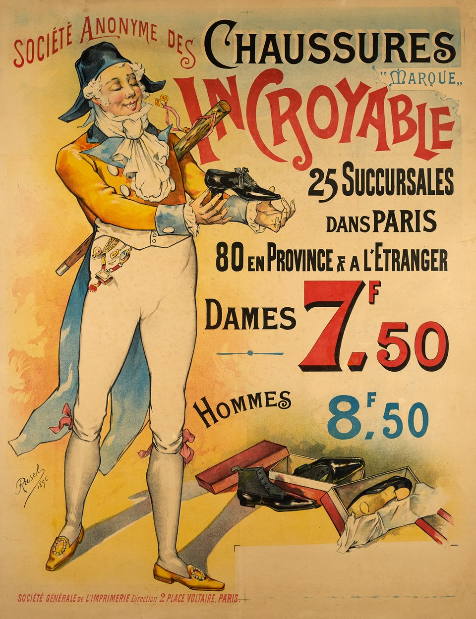 Chaussures Incroyable – Affiche ancienne – RASEL – 1896