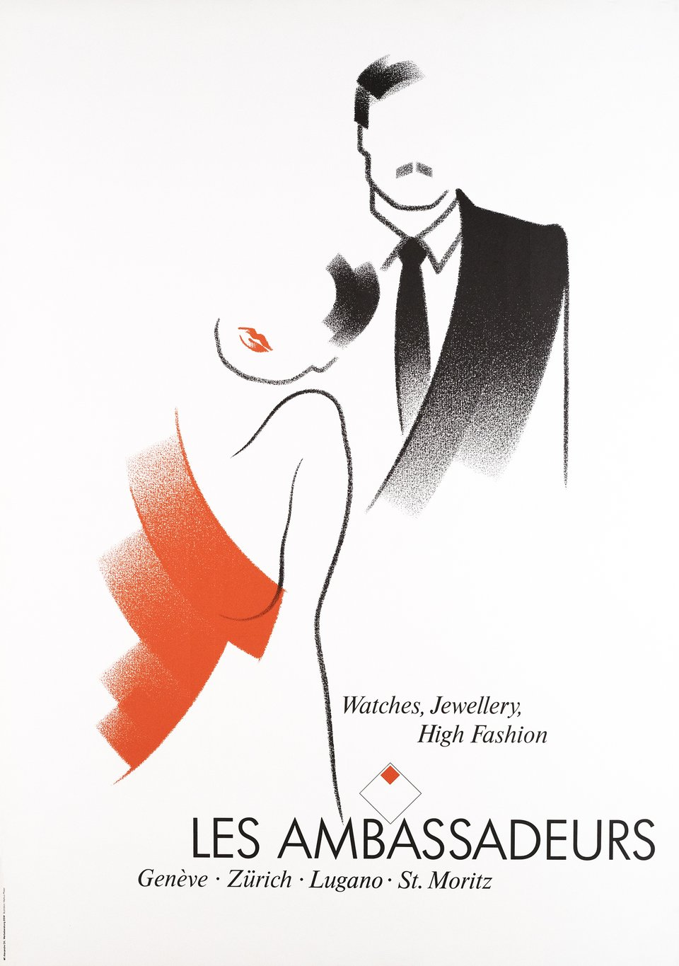 Les Ambassadeurs, Watches Jewellery Fashion – Vintage poster – Markus PFISTER – 1985
