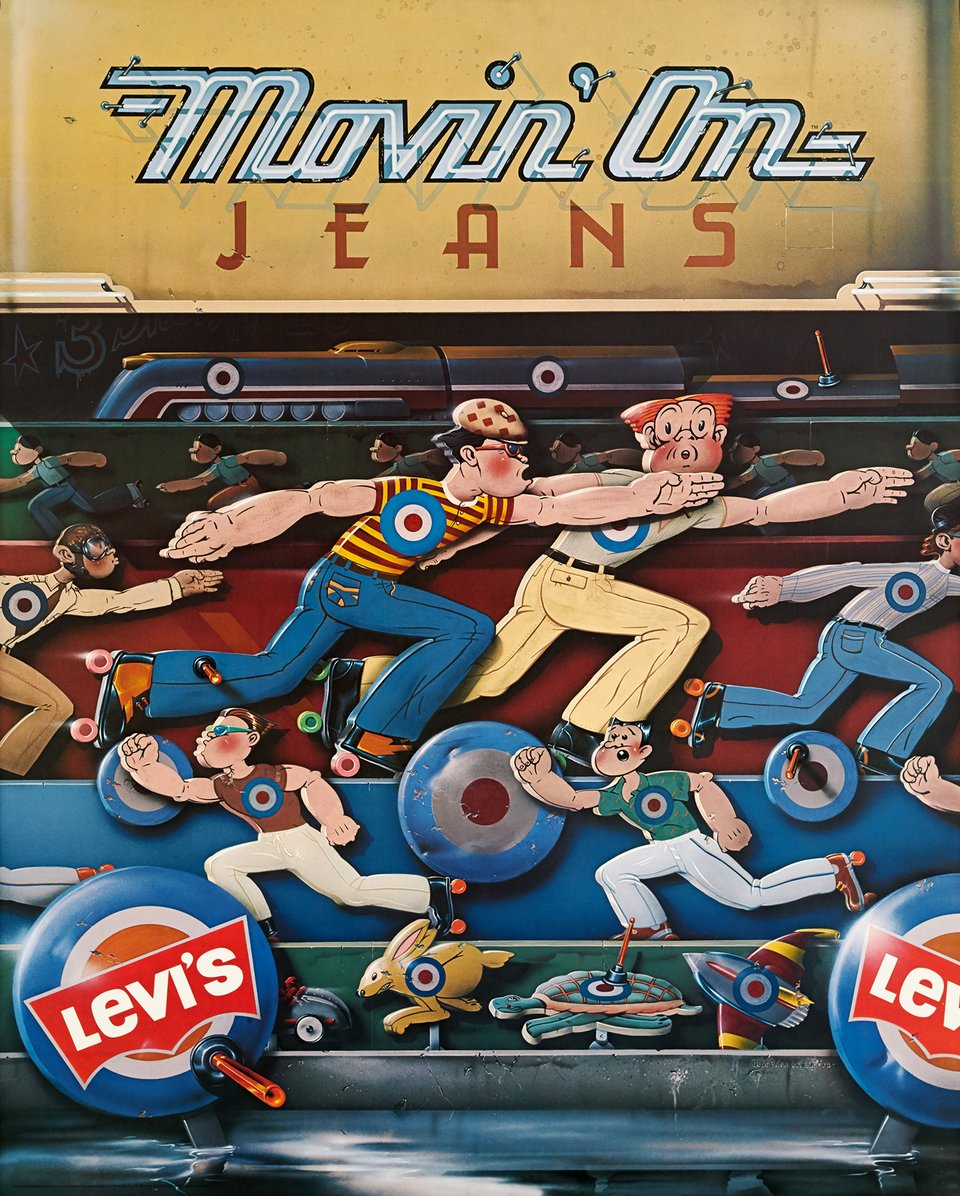 Movin'on jeans Levi's – Affiche ancienne – D. MEMACKEN – 1979