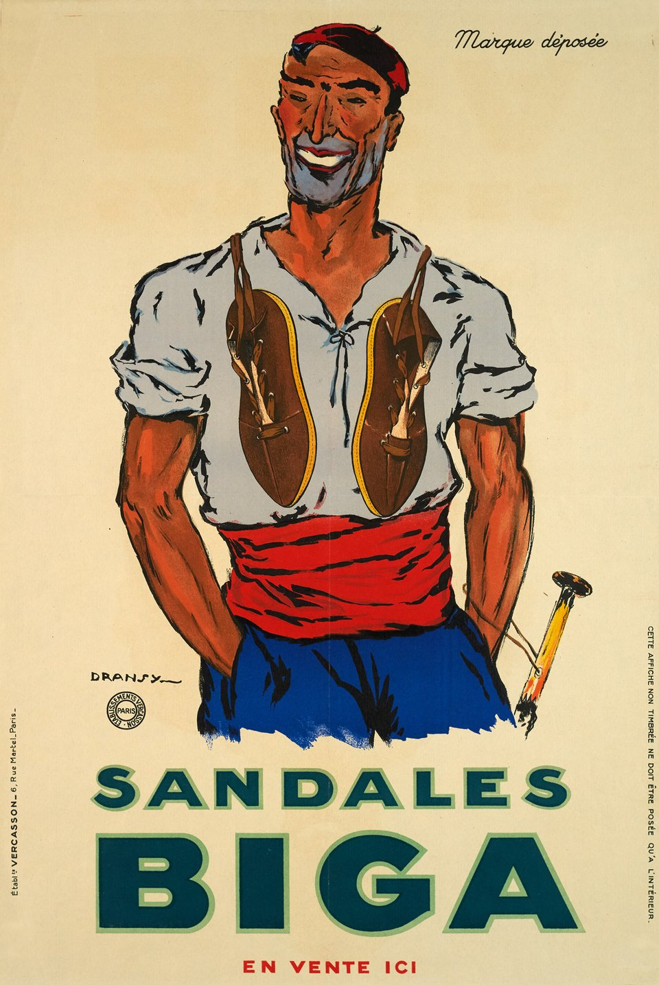 Sandales Biga – Affiche ancienne –  DRANSY, Jules ISNARD – 1930