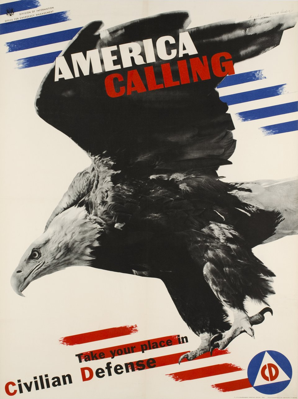 America calling, take your place in civilian defense – Affiche ancienne – Herbert MATTER – 1941