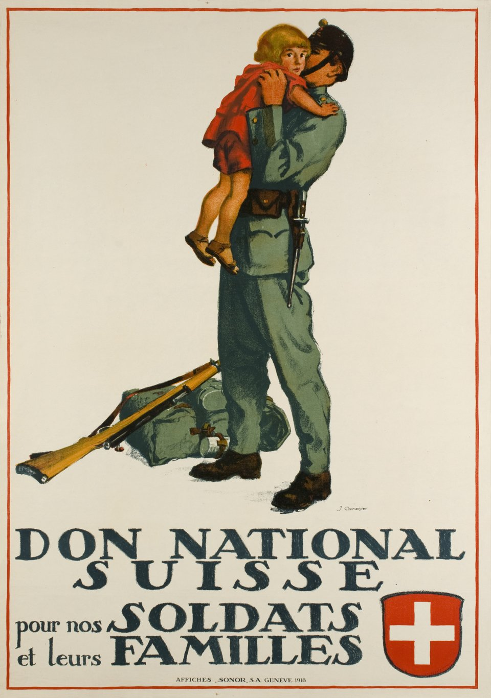 Don national Suisse – Affiche ancienne – Jules COURVOISIER – 1918