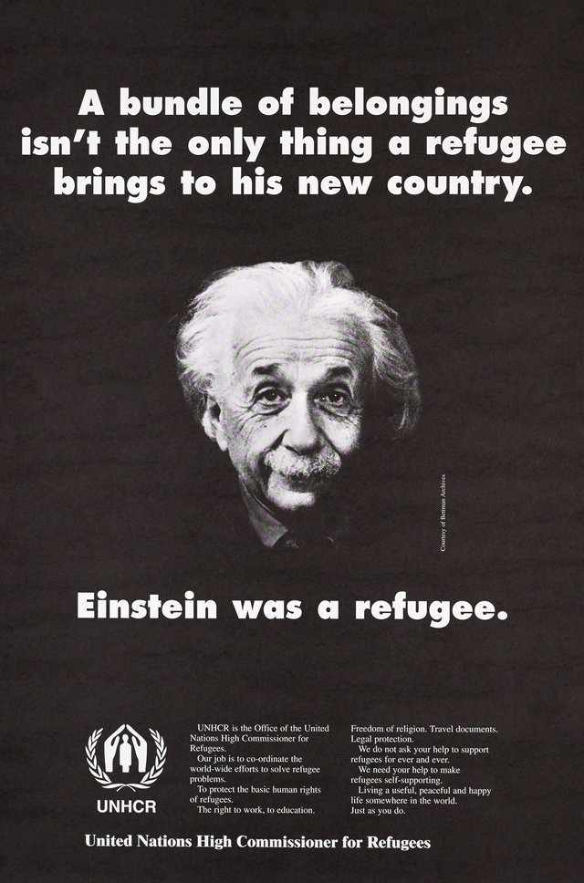 UNHCR, Einstein was a Refugee, A bundle of belongings isn't the only thing a refugee brings to his new country