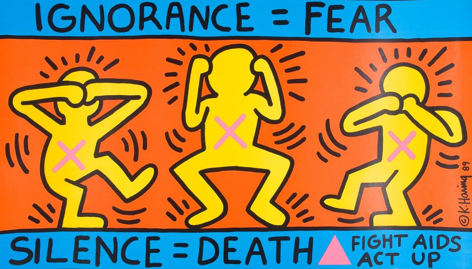 Ignorance = Fear, Silence = Death, Fight Aids, Act Up – Vintage poster – Keith HARING – 1989