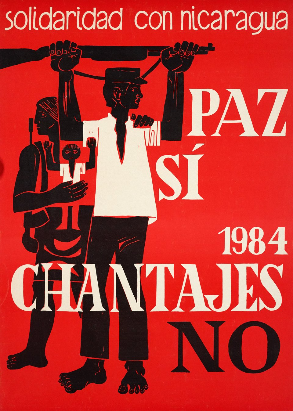 Paz si chantajes NO, Solidaridad con Nicaragua – Affiche ancienne –  ANONYME – 1984