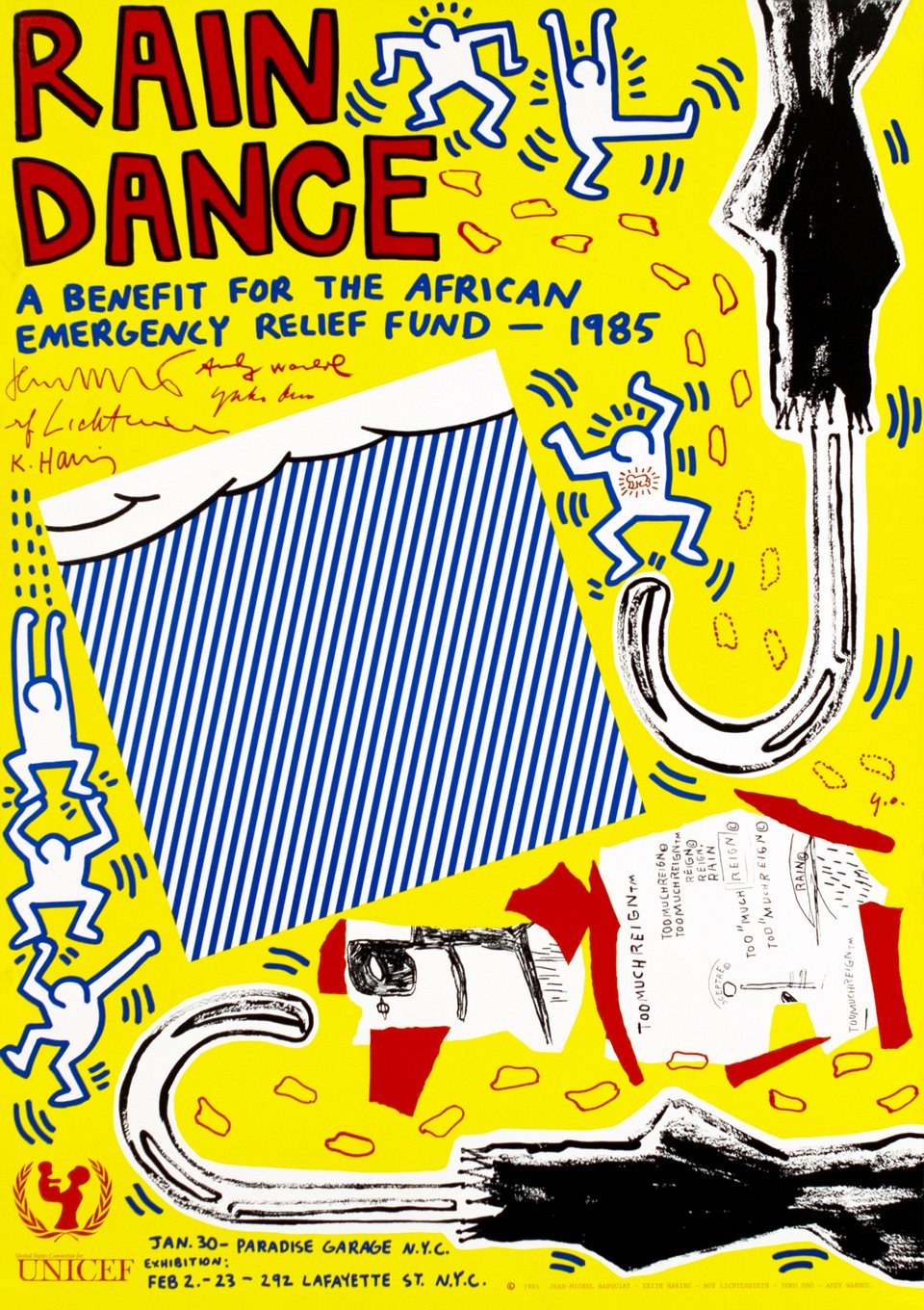 Rain Dance, a benefit for the african emergency relief fund - 1985 – Vintage poster – Keith HARING – 1985