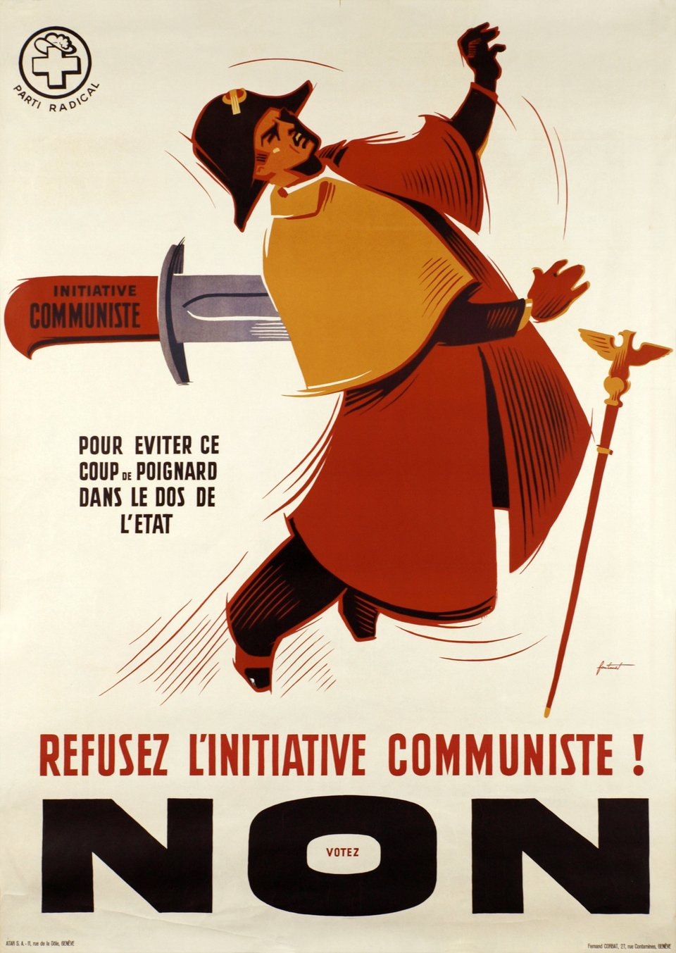 Parti Radical, Refusez l'initiative communiste! Votez NON – Vintage poster – Noel FONTANET – 1940