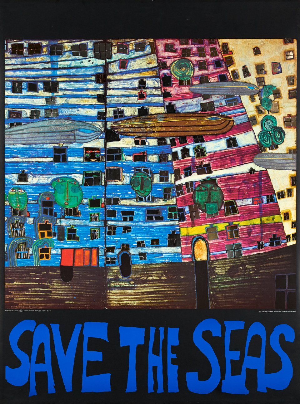 Save the sea – Affiche ancienne –  HUNDERTWASSER – 1984