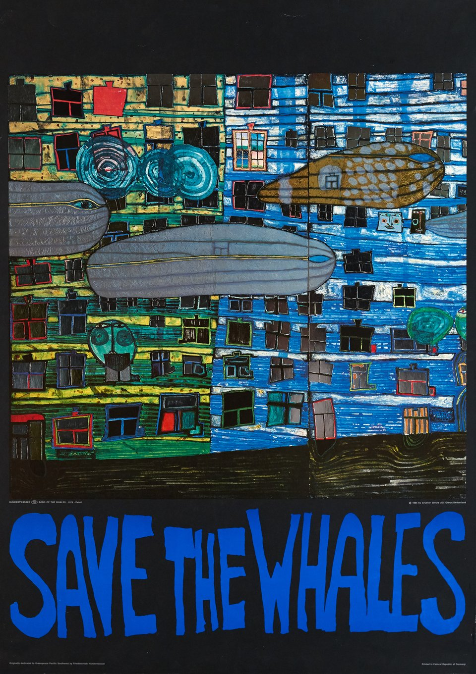 Save the whales – Affiche ancienne –  HUNDERTWASSER – 1984