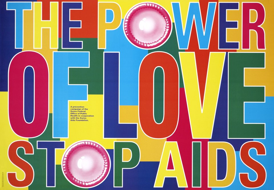 Stop AIDS, The power of love. – Affiche ancienne –  ANONYME – 1995