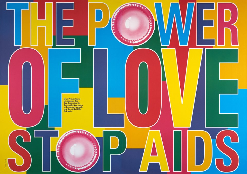 Stop AIDS, The Power of Love – Vintage poster – ANONYMOUS – 1995