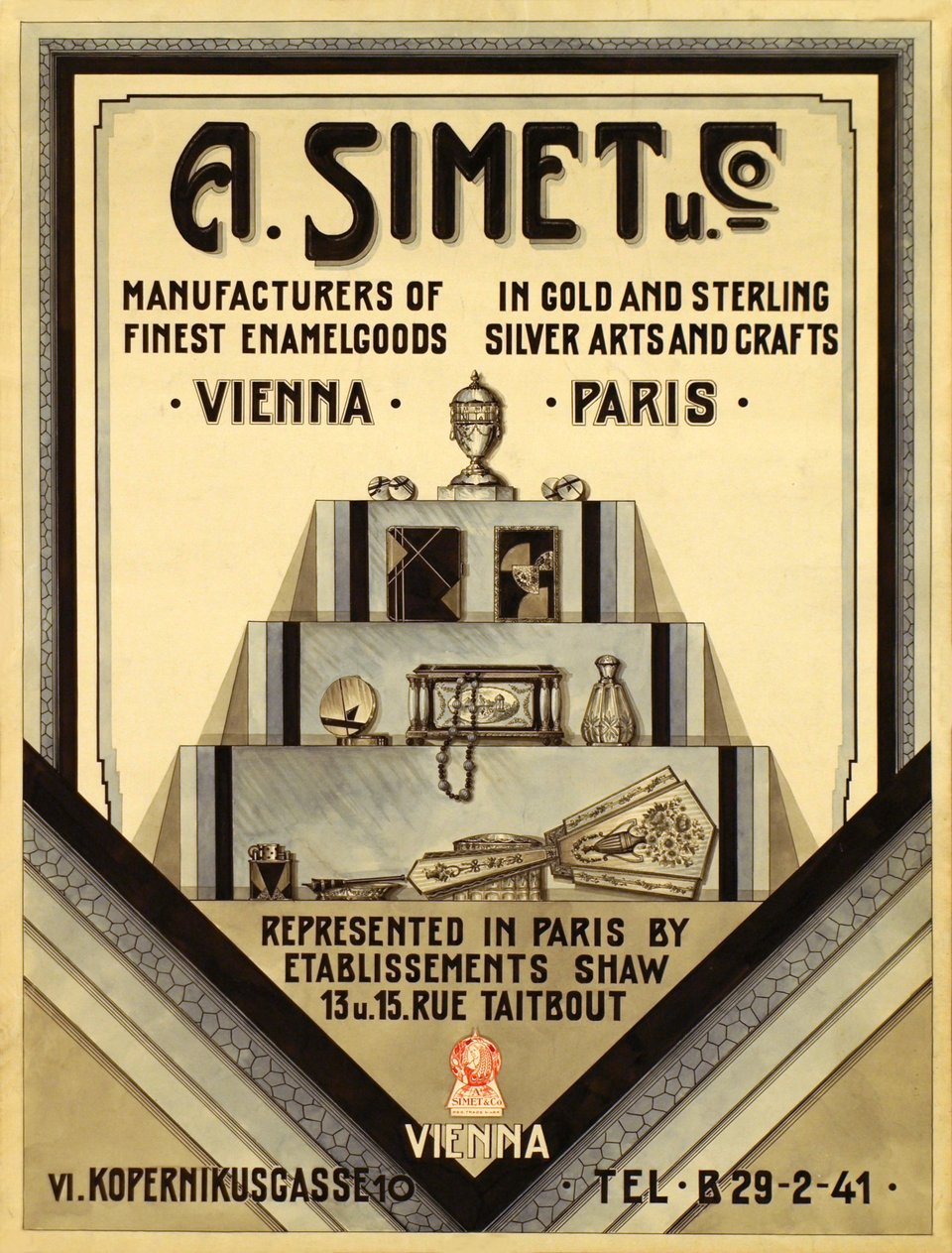 A. Simet Manufacture Vienne-Paris – Affiche ancienne – ANONYMOUS – 1920