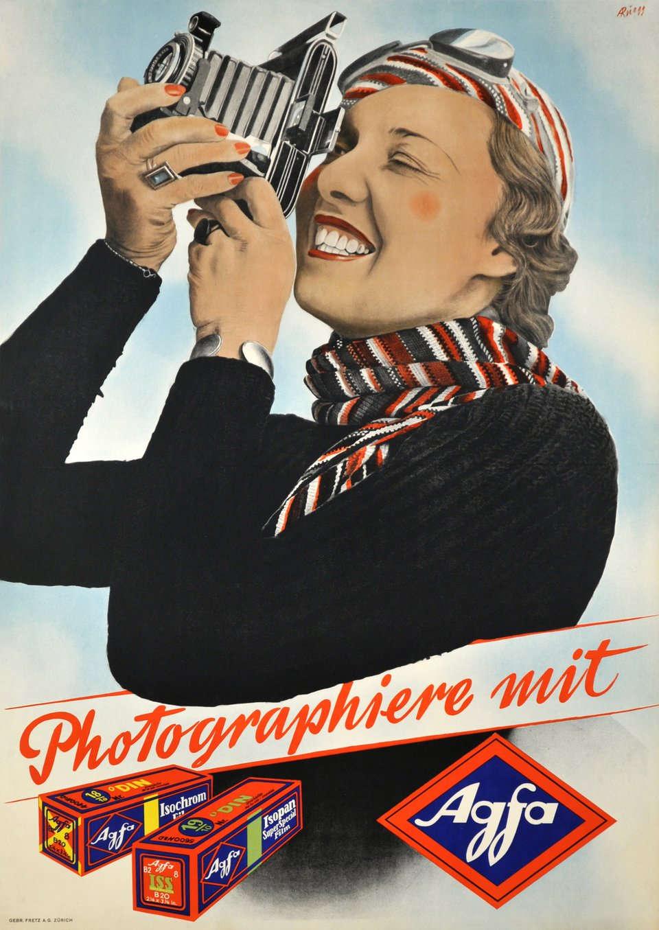 Agfa, Photographiere mit Agfa – Vintage poster – Albert RÜEGG – 1937