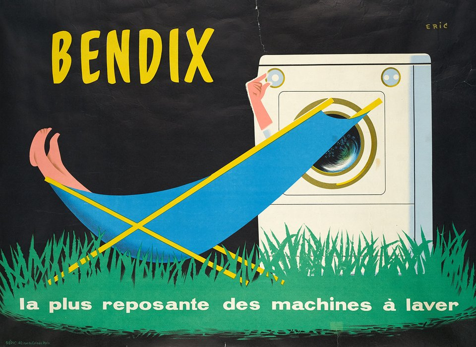 Bendix, La plus reposante des machines à laver – Affiche ancienne –  ERIC – 1950