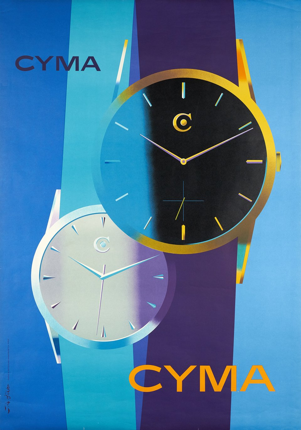 Cyma, Swiss watches – Affiche ancienne – Fritz BUHLER – 1958