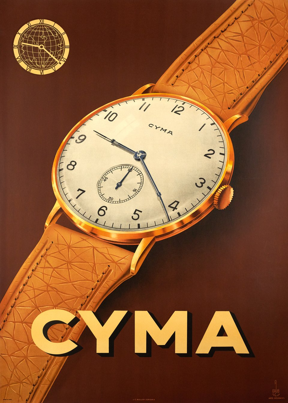Cyma watch – Vintage poster – A GALIB – 1942