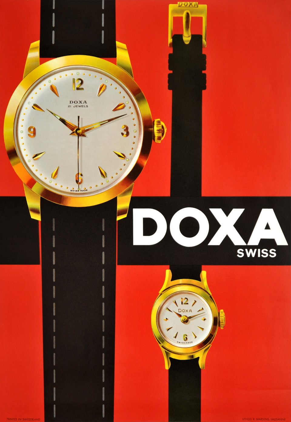Doxa Suisse, 21 Jewels – Vintage poster – ANONYME – 1960