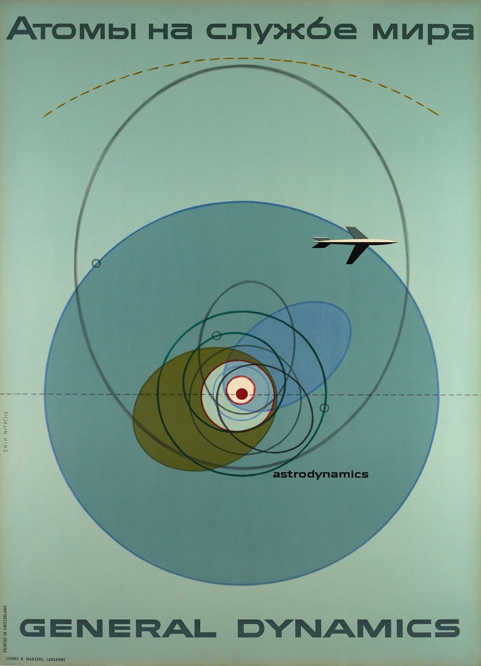 General Dynamics, Атомы на служнбе мира, Astrodynamics, Atoms for peace – Affiche ancienne – Erik NITSCHE – 1955