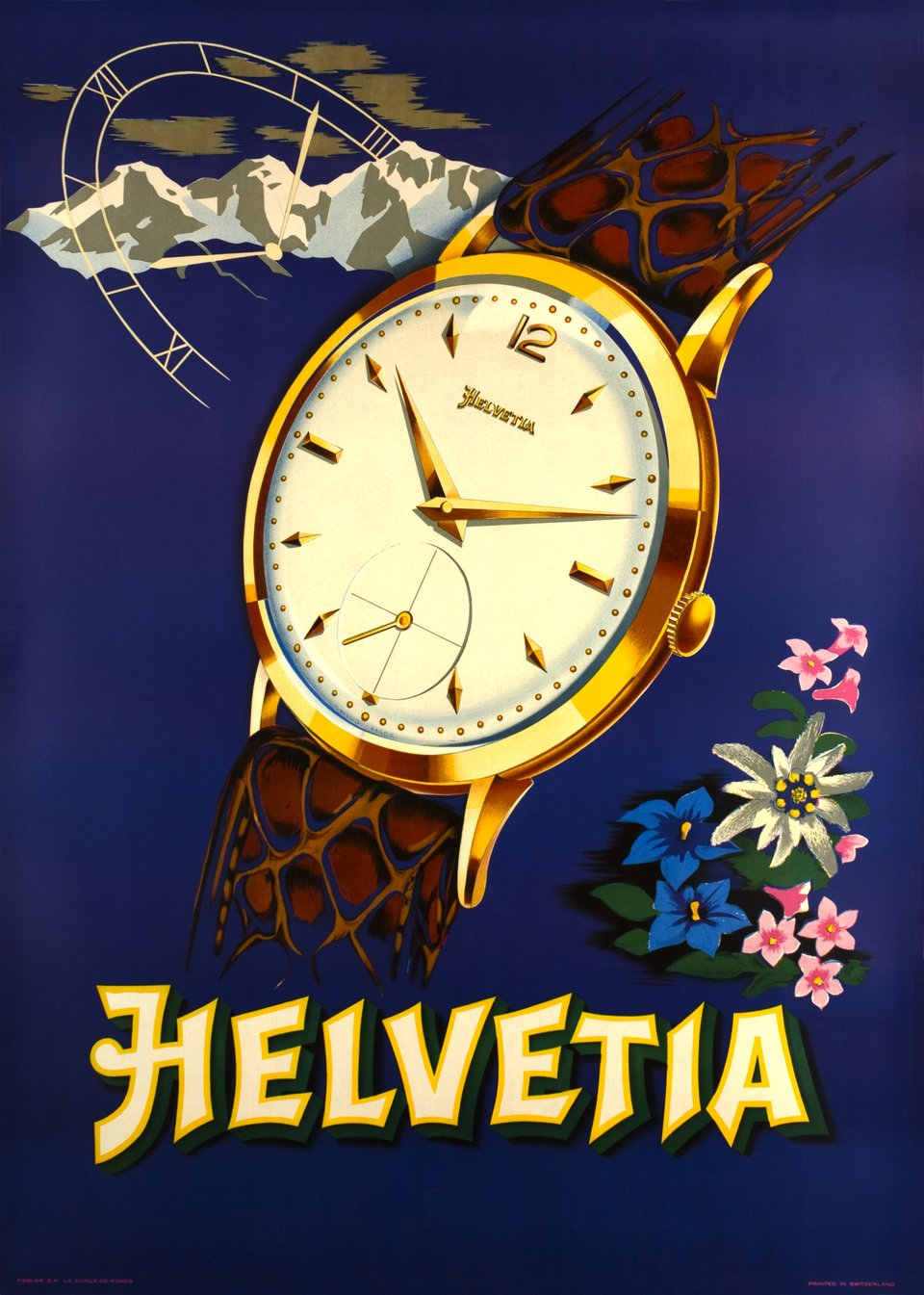 Helvetia watches – Vintage poster – ANONYME – 1940