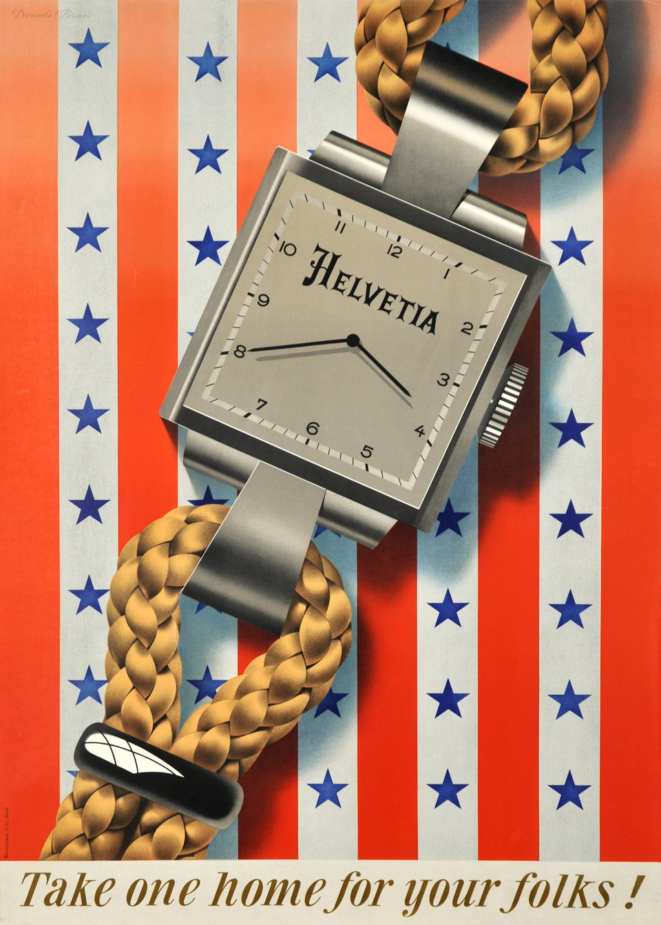Helvetia watches, take one home for your folks – Vintage poster – Donald BRUN – 1946