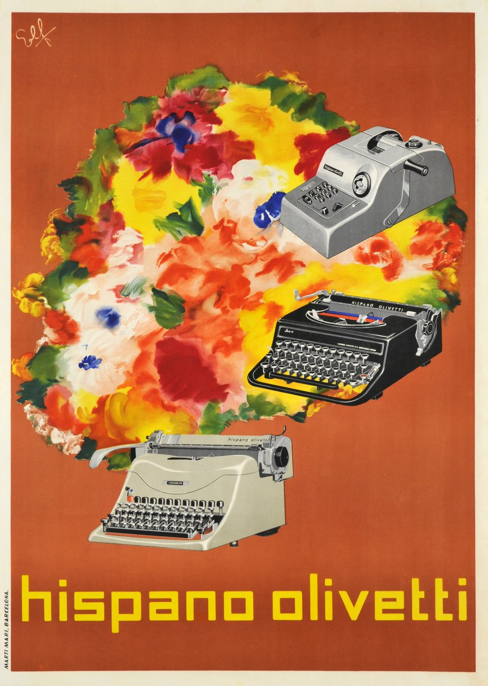 Hispano Olivetti – Affiche ancienne – ELF – 1950