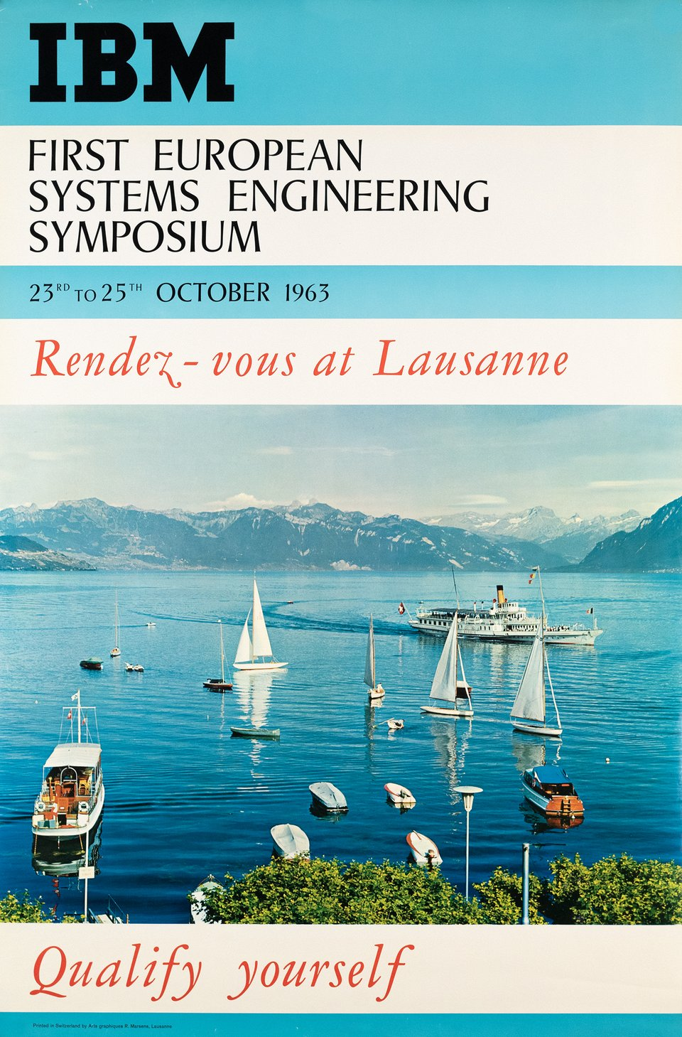 IBM First European Systems Engineering Symposium, Rendez-vous at Lausanne, Qualify yourself – Affiche ancienne – ANONYME – 1963