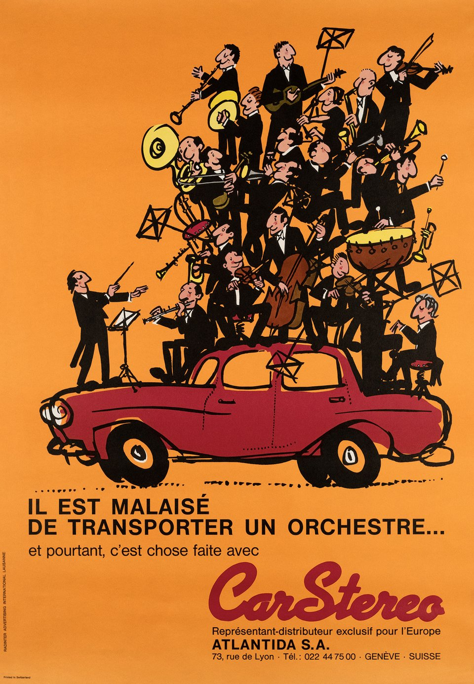 CarStereo – Affiche ancienne – RADINTER ADVERTISING INTERNATIONAL, LAUSANNE – 1965