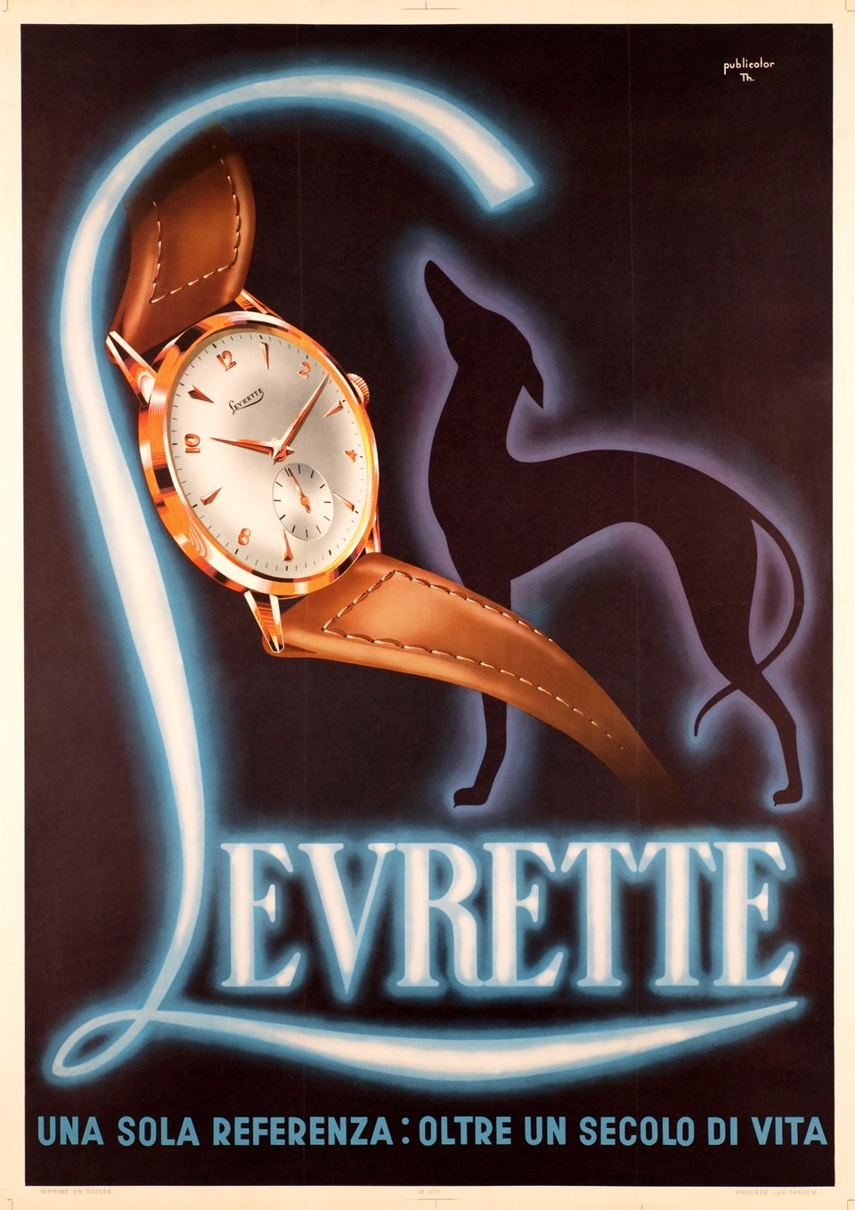 Levrette, watches – Affiche ancienne –  PUBLICOLOR, Th. PUBLICOLOR – 1950
