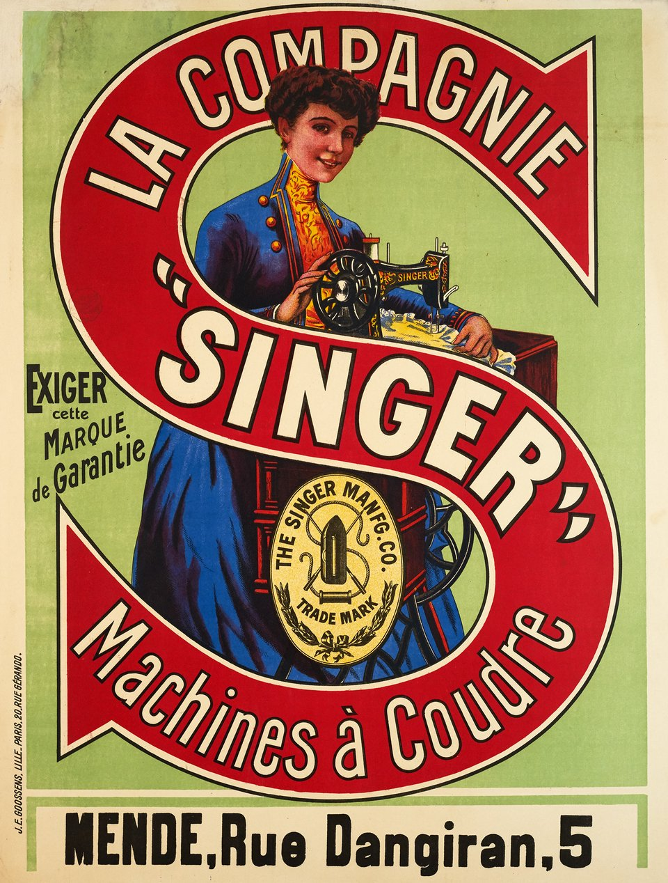Machines à coudre Singer – Affiche ancienne – ANONYMOUS – 1900