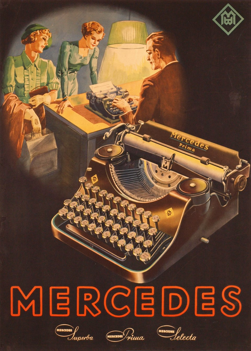 Mercedes, Superb Primo Selecta – Affiche ancienne – ANONYMOUS – 1930
