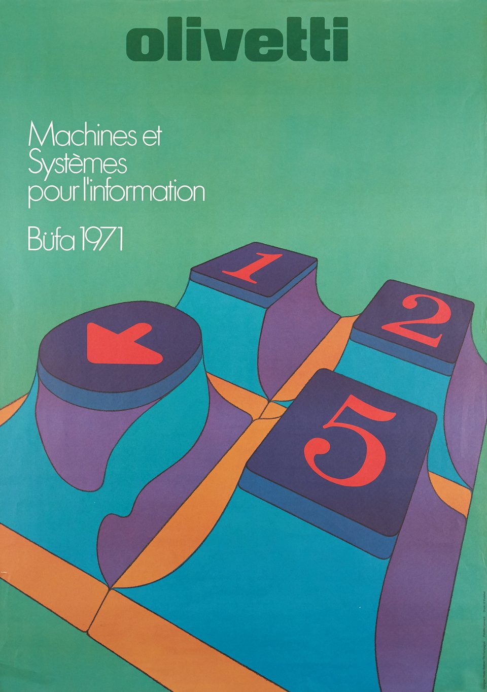 Olivetti, Machines et Systèmes pour l'Information, Büfa 1971 – Vintage poster – Walter BALMER,  CAMPAGNOLI – 1971