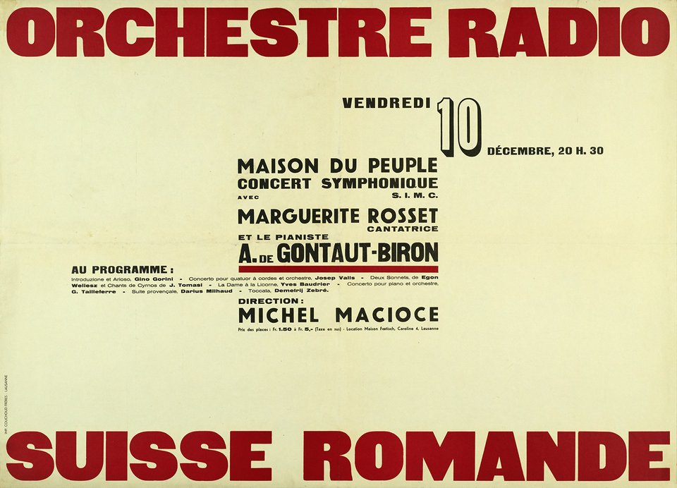 Orchestre Radio, Suisse Romande – Vintage poster –  ANONYME – 1940