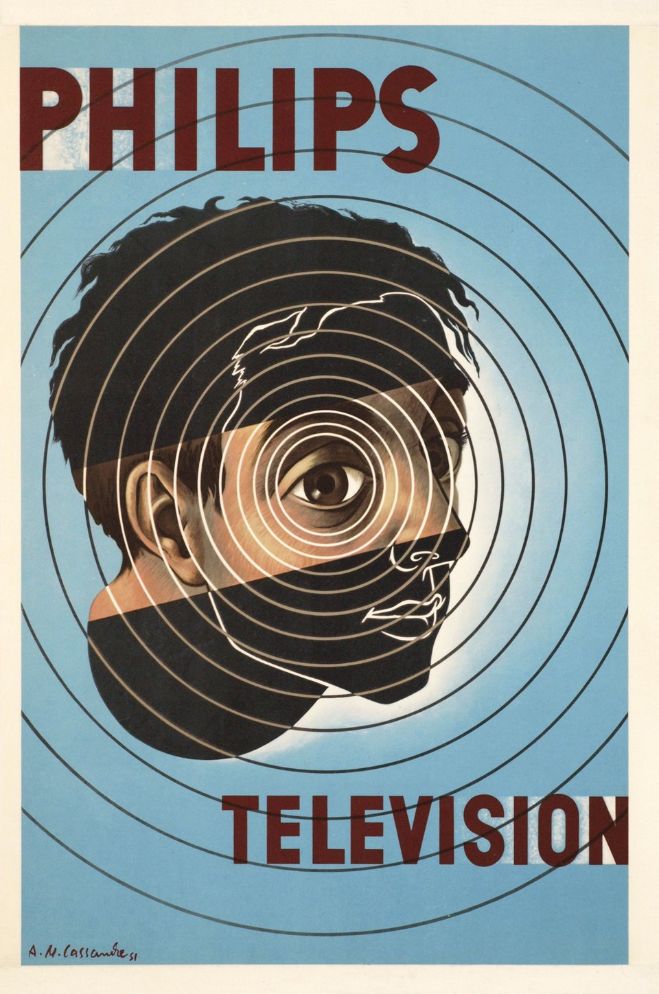 Philips Television – Vintage poster –  CASSANDRE, Adolphe MOURON – 1955