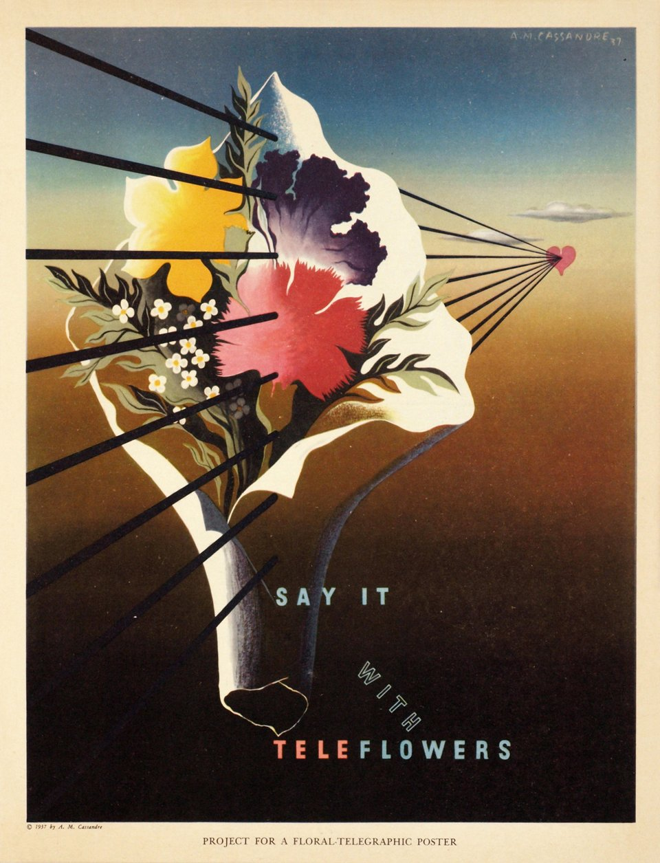 Say it with TeleFlowers, project for a floral telegraphic poster – Vintage poster – A.M. CASSANDRE – 1937