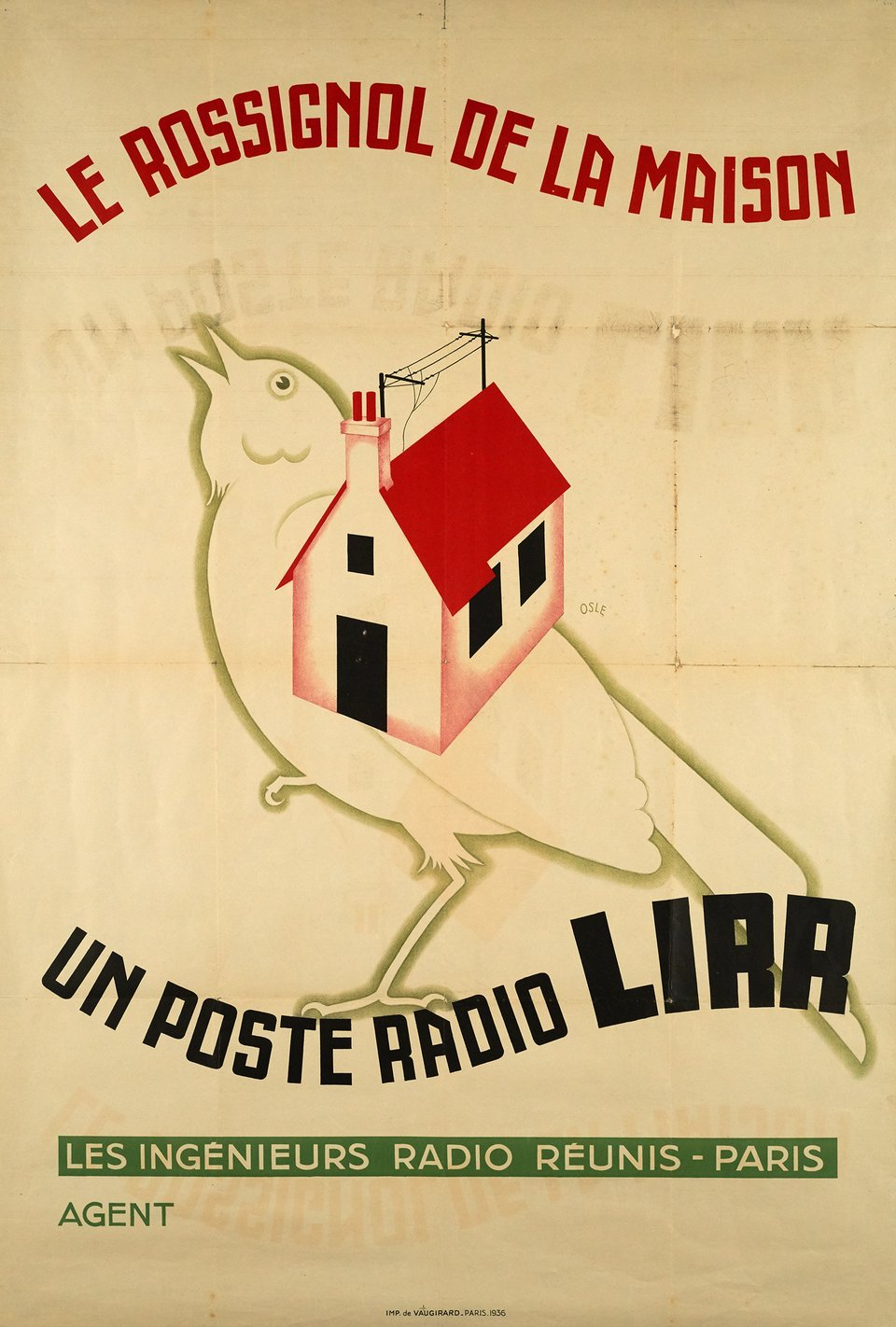 vintage poster un post radio lirr le rossignol de la maison galerie 1 2 3. Black Bedroom Furniture Sets. Home Design Ideas