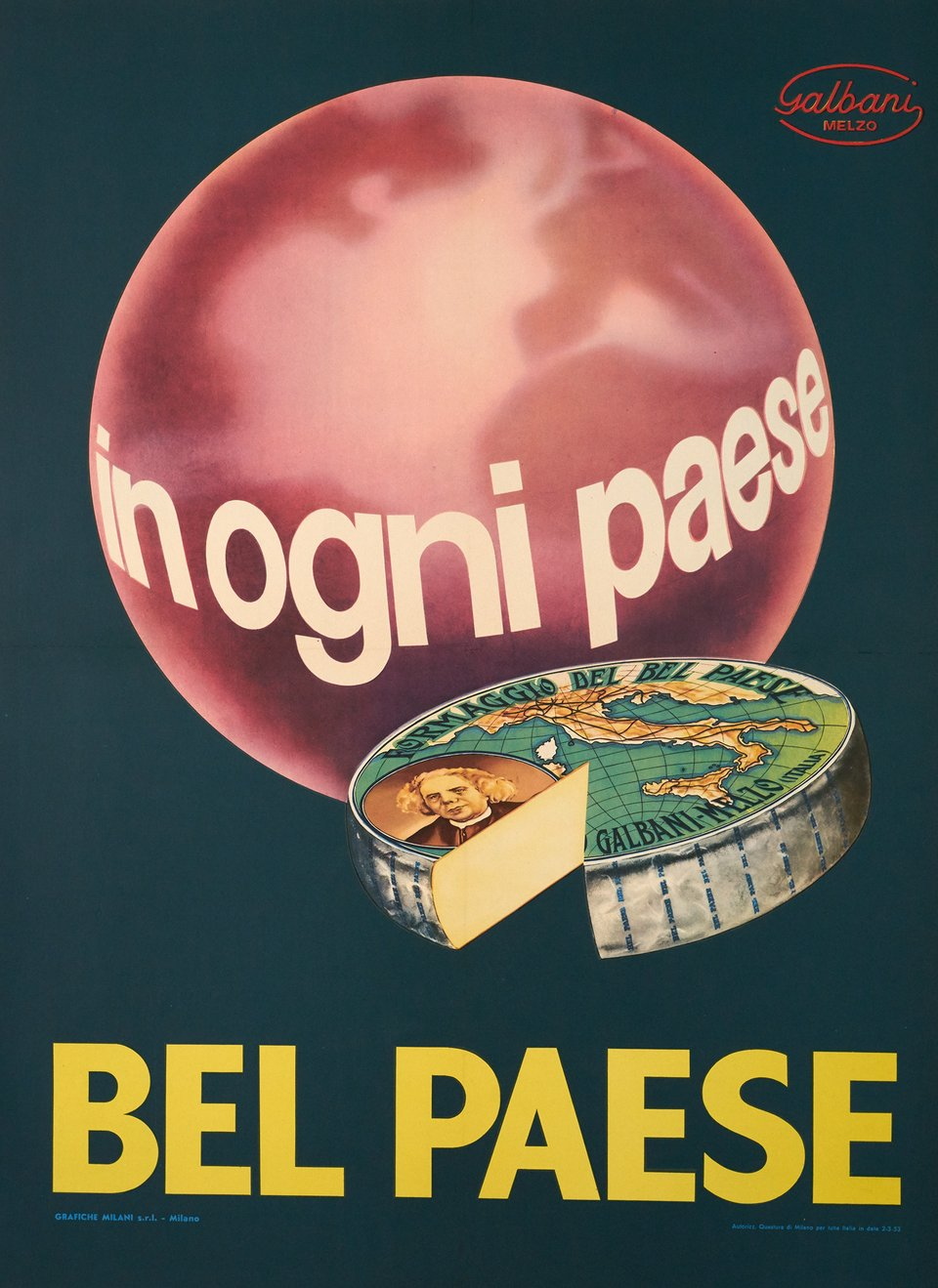 Bel Paese, In Ogni Paese – Affiche ancienne –  ANONYME – 1953